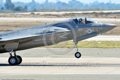 F-35B-VMFA-211 00001 A tight crop of a landing Lockheed Martin F-35B Lightning II stealth jet fighter USMC VMFA-211 AVENGERS MCAS Miramar 9-2016 military airplane picture by Peter J  Mancus