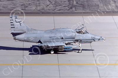 A-4USMC 00070 A USMC Douglas A-4M Skyhawk, 158196, attack jet, VMA-211 AVENGERS, MCAS Yuma 6-1985, airplane picture, by Peter J Mancus
