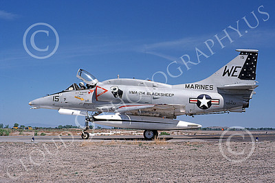 A-4USMC 00063 A taxing Douglas A-4M Skyhawk USMC 158433 VMA-214 BLACKSHEEP NAS Fallon 5-1979 military airplane picture by Michael Grove, Sr