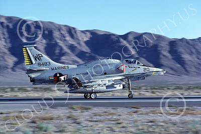 A-4USMC 00283 A Douglas A-4M Skyhawk USMC 159483 VMA-223 BULLDOGS rolls out at Nellis AFB 11-1980 airplane picture by Peter J Mancus