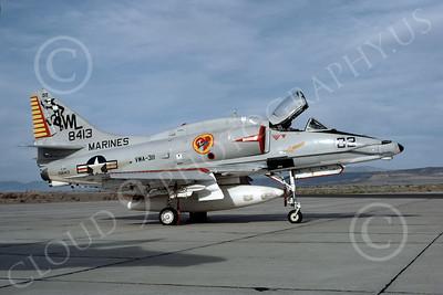 A-4USMC 00032 A USMC Douglas A-4M Skyhawk, 158413, attack jet, VMA-311 TOMCATS, NAS Fallon 4-1977, airplane picture, by Michael Grove, Sr