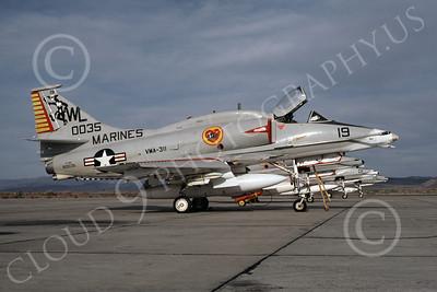 A-4USMC 00056 A USMC Douglas A-4M Skyhawk, 160035, attack jet, VMA-311 TOMCATS, NAS Fallon 4-1977, airplane picture, by Michael Grove, Sr