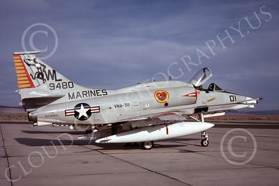 A-4USMC 00042 A USMC Douglas A-4M Skyhawk, 159480, attack jet, VMA-311 TOMCATS, NAS Fallon 5-1977, airplane picture, by Michael Grove, Sr