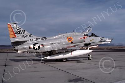 A-4USMC 00028 A USMC Douglas A-4M Skyhawk, 159480, attack jet, VMA-311 TOMCATS, NAS Fallon 4-1977, airplane picture, by Michael Grove, Sr