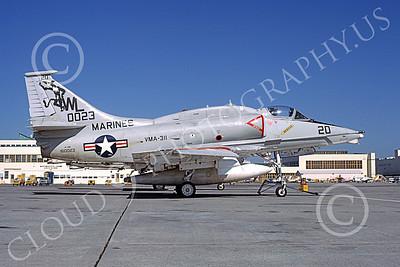 A-4USMC 00051 A static Douglas A-4M Skyhawk USMC 160023 VMA-311 TOMCATS NAS Alameda 12-1981 military airplane picture by Michael Grove, Sr