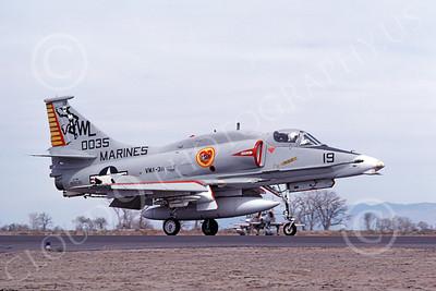A-4USMC 00054 A USMC Douglas A-4M Skyhawk, 160035, attack jet, VMA-311 TOMCATS, NAS Fallon 4-1977, airplane picture, by Michael Grove, Sr