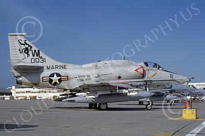 A-4USMC 00048 A USMC Douglas A-4M Skyhawk, 0031, attack jet, VMA-311 TOMCATS, NAS Alameda 6-1984, airplane picture, by Michael Grove, Sr