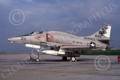 A-4USMC 00044 A USMC Douglas A-4M Skyhawk, 158416, attack jet, VMA-311 TOMCATS, NAS Fallon 2-1982, airplane picture, by Michael Grove, Sr