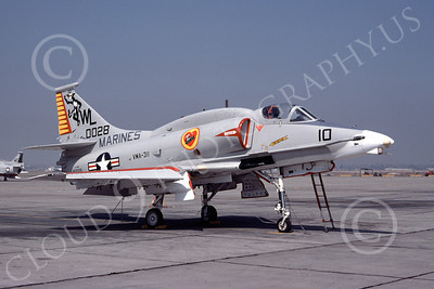 A-4USMC 00046 A USMC Douglas A-4M Skyhawk, 160028, attack jet, VMA-311 TOMCATS, NAS Fallon 10-1976, airplane picture, by Michael Grove, Sr