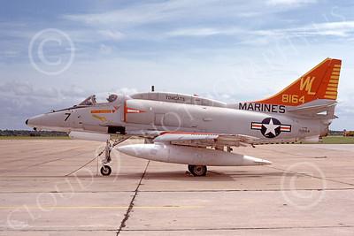 A-4USMC 00058 A USMC Douglas A-4M Skyhawk, 158164, attack jet, VMA-311 TOMCATS, 11-1975, airplane picture, by Michael Grove, Sr