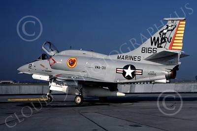 A-4USMC 00024 A USMC Douglas A-4M Skyhawk, 158166, attack jet, VMA-311 TOMCATS, 6-1977, airplane picture, by Michael Grove, Sr