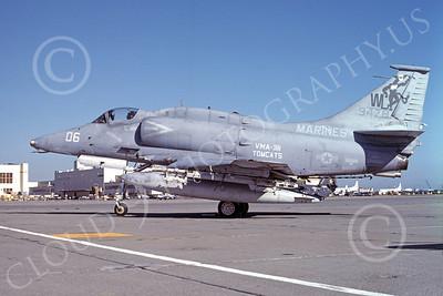 A-4USMC 00050 A USMC Douglas A-4M Skyhawk, 168478, attack jet, VMA-311 TOMCATS, NAS Alameda 5-1984, airplane picture, by Michael Grove, Sr