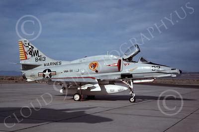 A-4USMC 00038 A USMC Douglas A-4M Skyhawk, 158413, attack jet, VMA-311 TOMCATS, NAS Fallon 5-1977, airplane picture, by Michael Grove, Sr