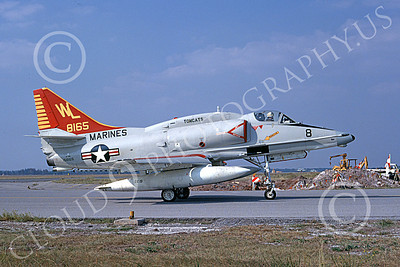 A-4USMC 00049 A taxing Douglas A-4M Skyhawk USMC 158165 VMA-311 TOMCATS 11-1974 military airplane picture by Terry Kerry