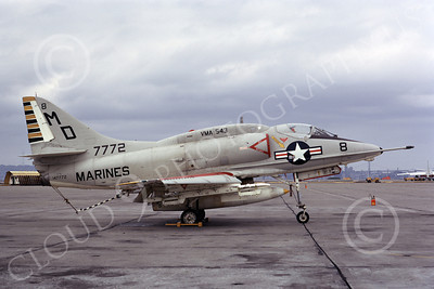 A-4USMC 00060 A USMC Douglas A-4L Skyhawk, 147772, attack jet, VMA-543 NIGHT HAWKS, NAS Alameda 3-1973, airplane picture, by Michael Grove, Sr