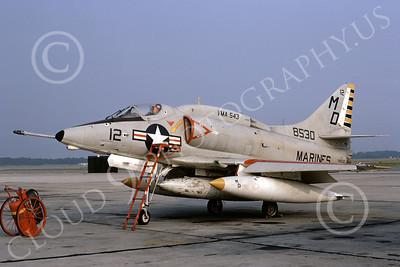 A-4USMC 00064 A USMC Douglas A-4L Skyhawk, 148530, attack jet, VMA-543  NIGHT HAWKS, NAX JAX 8-1972, airplane picture, by L B Sides