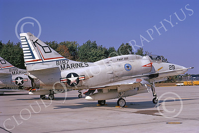 A-4USMC 00093 A static Douglas A-4 Skyhawk USMC 158187 VMAT-203 HAWKS Andrews AFB 10-1973 military airplane picture by Frank MacSorley