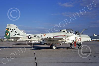 A-6USMC 00169 A static Grumman A-6 Intruder USMC 155661 VMA(AW)-224 BENGALS NL code USS Coral Sea NAS Alameda 10-1971 military airplane picture by Douglas Olson
