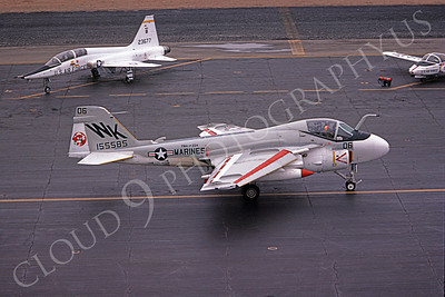 A-6USMC 00321 A taxing Grumman A-6 Intruder USMC 155585 VMA(AW)-224 BENGALS 7-1981 airplane picture by Ronald McNeil