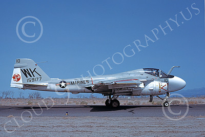 A-6USMC 00203 A taxing Grumman A-6 Intruders USMC 159177 VMA(AW)-224 BENGALS WK code NAS Fallon 4-1980 military airplane picture by Michael Grove, Sr