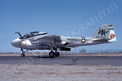 A-6USMC 00303 A taxing Grumman A-6 Intruder USMC 157021 VMA(AW)-224 BENGALS NAS Fallon 4-1980 airplane picture by Michael Grove, Sr