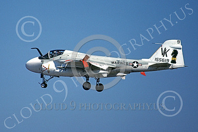A-6USMC 00192 A landing Grumman A-6 Intruder USMC 155619 VMA(AW)-121 GREEN KNIGHTS VK code 5-1980 military airplane picture by Bob Niedermier