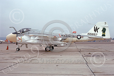 A-6USMC 00199 A static Grumman A-6 Intruder USMC 155657 VMA(AW)-121 GREEN KNIGHTS VK code NAS North Island 9-1975 military airplane picture by Michael Grove, Sr