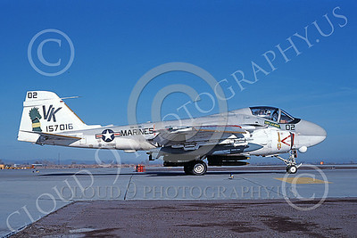 A-6USMC 00175 A taxing Grumman A-6 Intruder USMC 157016 VMA(AW)-121 GREEN KNIGHTS VK code with bombs NAS Fallon 11-1983 military airplane picture by Michael Grove, Sr