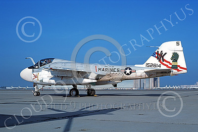 A-6USMC 00177 A static Grumman A-6 Intruder USMC 152614 VMA(AW)-121 GREEN KNIGHTS VK code BICENTENNIAL NAS Moffett 2-1977 military airplane picture by Michael Grove, Sr