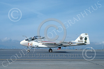 A-6USMC 00181 A taxing Grumman A-6 Intruder USMC 152931 VMA(AW)-121 GREEN KNIGHTS VK code commanding officer's NAS Alamdea 2-1979 military airplane picture by Michael Grove, Sr