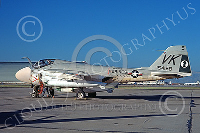 A-6USMC 00187 A static Grumman A-6 Intruder USMC 154158 VMA(AW)-121 GREEN KNIGHTS VK code NAS Moffett 7-1974 military airplane picture by Michael Grove, Sr