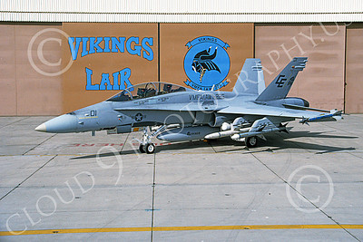 F-18USMC 00059 A static McDonnell Douglas F-18D Hornet USMC VMFA(AW)-225 VIKINGS 5-1992 military airplane picture by Robert L Lawson