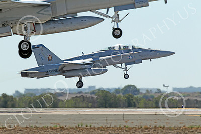 F-18USMC 00156 A USMC Boeing F-18 Hornet jet fighter VMFA(AW)-225 VIKINGS seen taking off at MCAS Miramar with another F-18 jet fighter, by Peter J Mancus