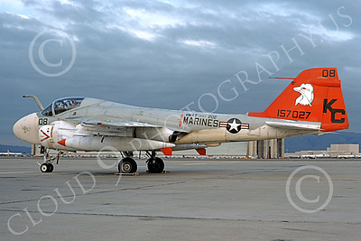 A-6USMC 00165 A static Grumman A-6 Intruder USMC 157027 VMAT(AW)-202 DOUBLE EAGLES KC code NAS Moffett 3-1976 military airplane picture by Michael Grove, Sr