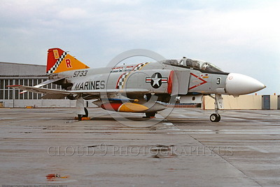 BICEN-F-4 00019 A static McDonnell Douglas F-4 Phantom II USMC 5733 VMFA-312 CHECKERBOARDS DR code bicentennial markings NAS Miramar 7-1976 military airplane picture by Peter J Mancus DONEwt