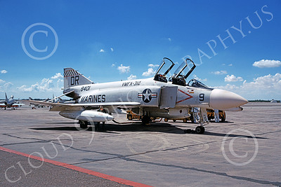 F-4USMC 00539 A static McDonnell Douglas F-4J USMC 8401 VMFA-312 CHECKERBOARDS DR code 9-1967 military airplane picture by Michael Grove, Sr