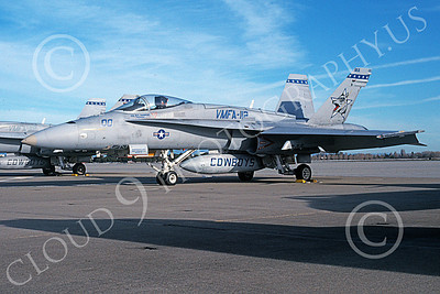 F-18USMC 00129 A static McDonnell Douglas F-18 Hornet USMC VMFA-112 COWBOYS commanding officer's plane 2-2004 military airplane picture by Tom Chee