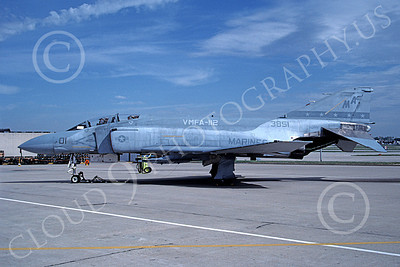 F-4USMC 00261 A static McDonnell Douglas F-4S Phantom II USMC 153851 VMFA-112 COWBOYS MA code 5-1988 military airplane picture by Michael Grove, Sr