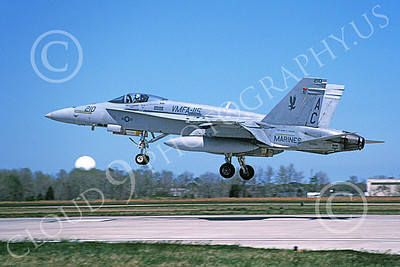 F-18USMC 00114 A landing McDonnell Douglas F-18 Hornet USMC 163156 VMFA-115 SILVER EAGLES USS Harry S Truman 4-2002 military airplane picture by David F Brown