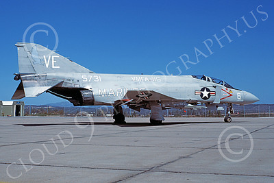 F-4USMC 00397 A static McDonnell Douglas F-4J Phantom II USMC 155731 VMFA-115 SILVER EAGLES VE code 11-1979 military airplane picture by Michael Grove, Sr