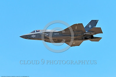 F-35USMC 00050 Side view of a flying Lockheed Martin F-35B Lightning II USMC 169165 VMFA-121 GREEN KNIGHTS VK tail code stealth jet fighter 7-2016 military airplane picture by Peter J  Mancus