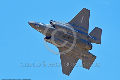 F-35USMC 00024 Bottom view of a flying Lockheed Martin F-35B Lightning II USMC VMFA-121 GREEN KNIGHTS VK tail code stealth jet fighter 7-2016 military airplane picture by Peter J  Mancus