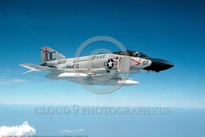 F-4II-USMC-VMFA-122 0002 A flying McDonnell Douglas F-4J Phantom II USMC jet fighter 155832 VMFA-122 CRUSADERS 1974 military airplane picture by Lenny Bucko     DONEwt