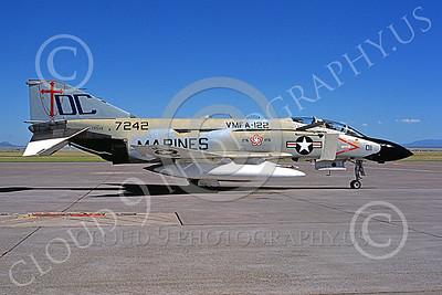 F-4USMC 00535 A static McDonnell Douglas F-4J USMC 7242 VMFA-122 CRUSADERS DC code BICENTENNIAL Malmstrom AFB 7-1976 military airplane pcture by Bill Drake