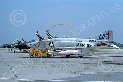F-4USMC 00537 A static McDonnell Douglas F-4J USMC 3804 VMFA-122 CRUSADERS DC code MCAS Beaufort 7-1976 military airplane picture by Ray R Leader