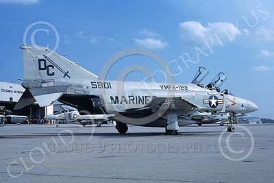 F-4USMC 00513 A static McDonnell Douglas F-4S USMC 5801 VMFA-122 CRUSADERS NAF Wash DC code 4-1982 military airplane picture by Michael Grove, Sr