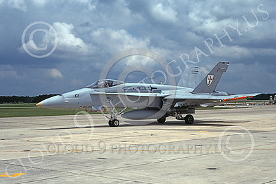 F-18USMC 00037 A taxing McDonnell Douglas F-18 Hornet USMC 163131 VMFA-122 WEREWOLVES MCAS Beaufort 6-1999 military airplane picture by Gene MacDonaldBruce R Trombecky
