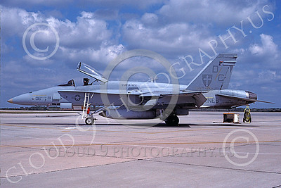 F-18USMC 00109 A static McDonnell Douglas F-18C Hornet USMC VMFA-122 WEREWOLVES MCAS Beaufort 4-1989 military airplane picture by David F Brown