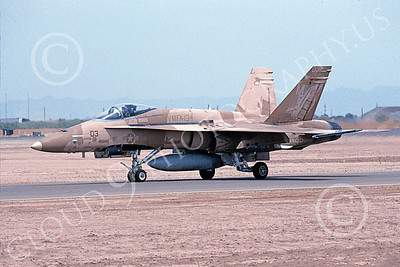 F-18USMC 00099 A taxing brown McDonnell Douglas F-18 Hornet USMC 162407 VMFA-134 SMOKE NAF El Centro 4-2002 military airplane picture by Michael Grove, Sr