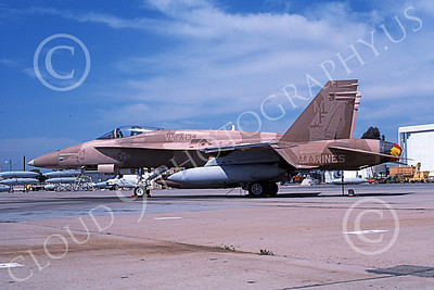 F-18USMC 00049 A static brown McDonnell Douglas F-18 Hornet USMC 162401 VMFA-134 SMOKE MCAS El Toro 4-1996 military airplane picture by Michael Grove, Sr